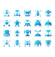 robot simple blue gradient icons set vector image vector image