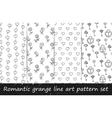 Romantic grunge line art pattern set vector image vector image