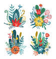 set floral bouquets vector image