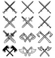 set of ancient weapon knight swords axes design vector image vector image