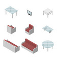 set of living room furniture chair sofa table vector image