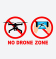 set of no drone zone sign vector image vector image