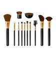 set professional golden make up brushes vector image