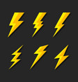 thunder and bolt lighting flash icons set flat vector image
