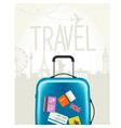travel around the world - modern suitcase vector image vector image