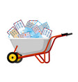 wheelbarrow and mail for santa claus xmas grounds vector image