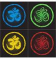 Hinduism religion golden symbol om on black backgr vector image
