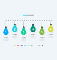 abstract business light bulbs infographic template vector image vector image