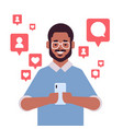 african american man using mobile application on vector image