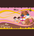 background - menu cafe for ice cream vector image vector image