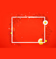 blank square frame on red background layout vector image