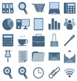 blue office icons on white background vector image