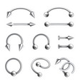 body piercing jewelry set different metallic vector image