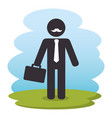 businessman with nportfolio silhouette vector image vector image