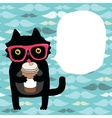 cartoon doodle cat in hipster glasses with coffee vector image vector image