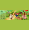 cartoon farm colorful template vector image vector image