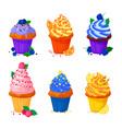 cartoon of sweet cupcakes vector image vector image