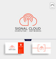 cloud digital technology line logo template vector image vector image