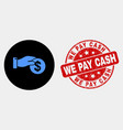 Coin payment hand icon and grunge we pay