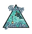 Color vintage fishing emblem vector image vector image