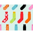 Colorful socks seamless pattern accessory clothing vector image