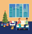 Couple at home sitting on sofa in the christmas vector image vector image