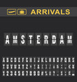 departure and arrival sign at amsterdam airport vector image vector image