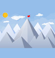 flag on peak of mountain vector image vector image