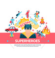 flat superheroes concept vector image