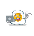 fried egg character cartoon with laptop vector image vector image