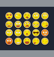 fun smiley face icon set isolated background vector image vector image