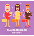 Glamorous girl with a dog vector image