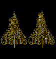 gold christmas trees golden letters vector image vector image