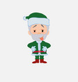 green santa claus in waiting attitude with funny vector image