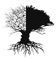 half branch half leaves tree with root vector image vector image