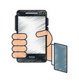 hand cellphone vector image vector image