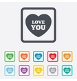 Heart sign icon Love you symbol vector image vector image