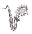 jazz music hand-drawn sketch a saxophone sax vector image