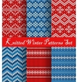 Knitted Winter Patterns Set vector image