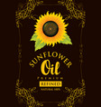 label for refined sunflower oil with sunflower vector image vector image