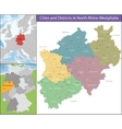 Map of North Rhine-Westphalia vector image vector image