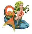 mermaid with hair of snakes isolated on a white vector image vector image