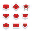 morocco flags icons and button set nine styles vector image