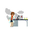 oughing girl after a failed chemical experiment vector image vector image