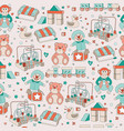 seamless pattern vintage toys children play vector image vector image