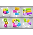 set colorful cubes with arrows 3d vector image