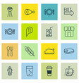 set of 16 eating icons includes cutlery soda vector image vector image