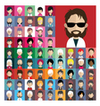 Set of people icons in flat style with faces 05 a vector image vector image