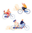 set people biking sport and leisure activity vector image