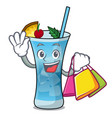 shopping blue hawaii character cartoon vector image
